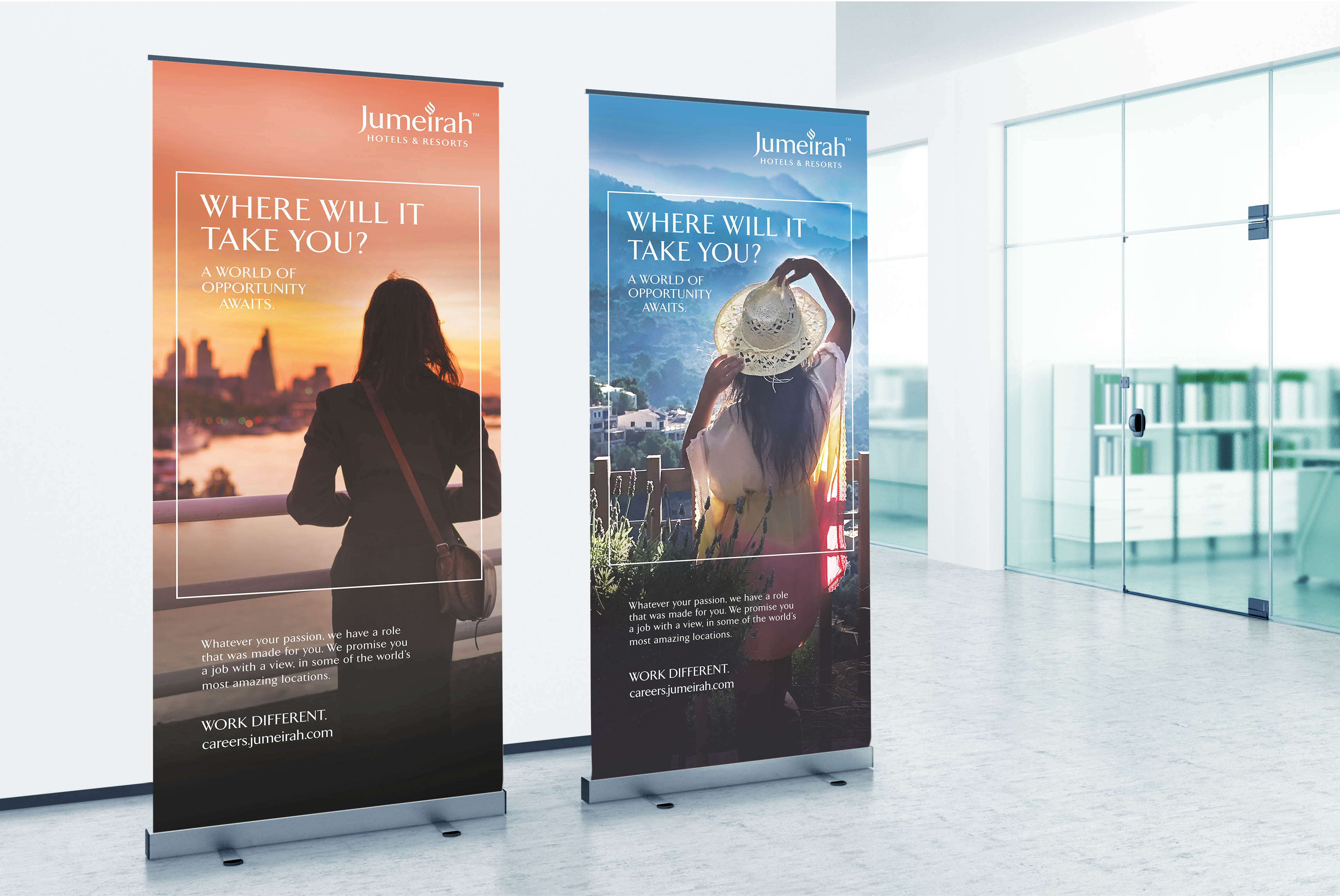 Jumeirah HR pull-up banners | Jumeirah Hotels | Advertising and Creative Strategy | Independent Marketing - IM London