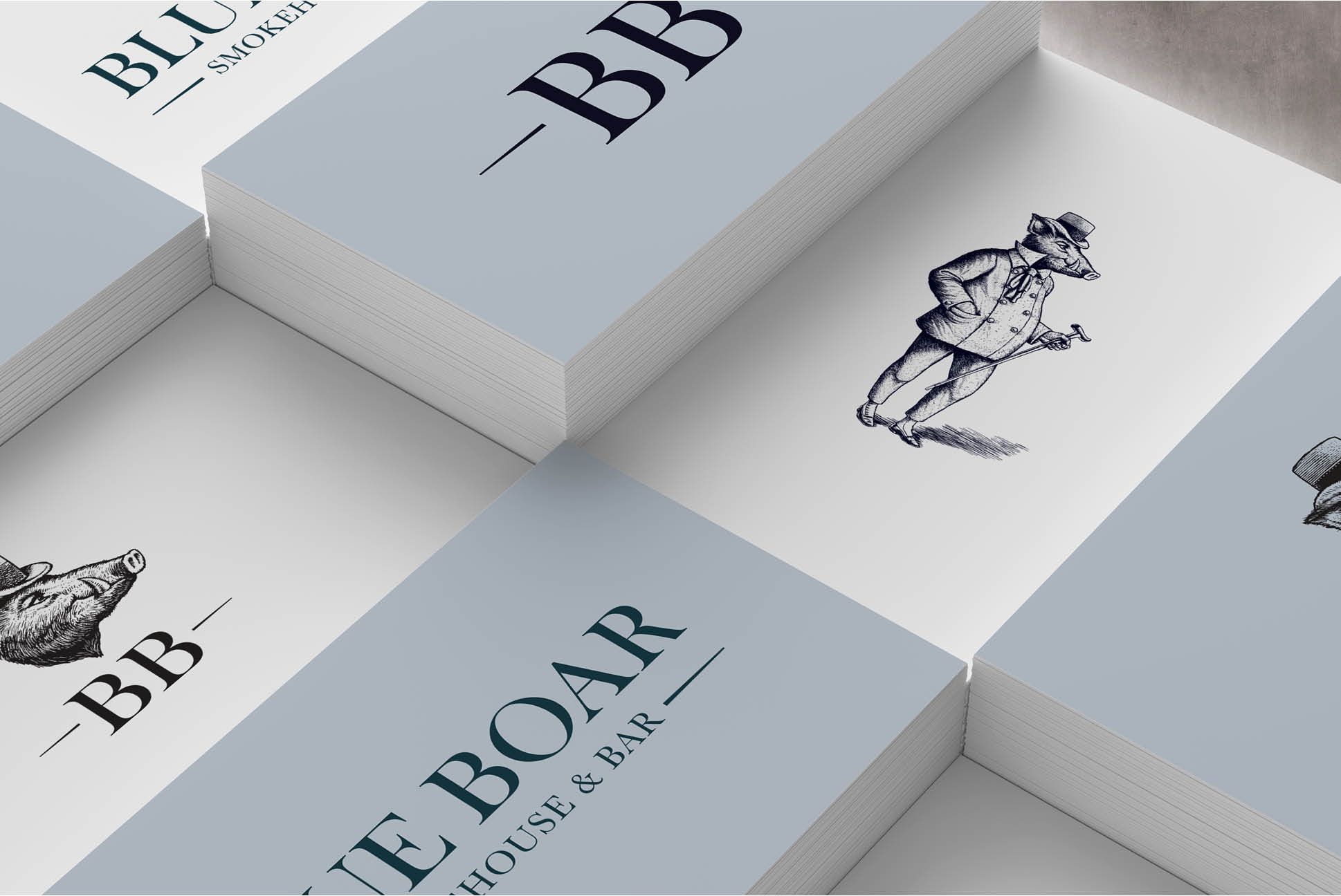 Blue Boar Brand identity   Branding and Promotional Collateral - Independent Marketing   IM London   Restaurant Marketing in London
