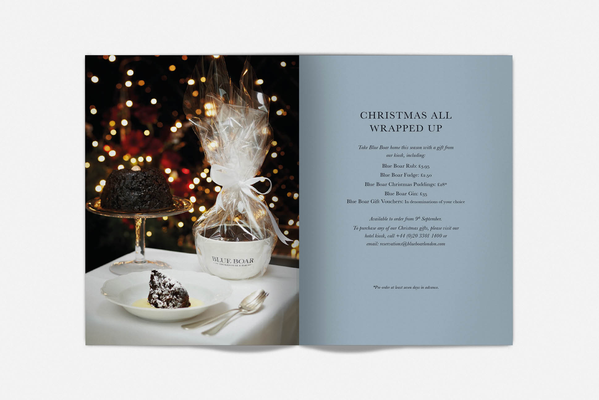 Blue Boar Christmas brochure   Branding and Promotional Collateral - Independent Marketing   IM London   Restaurant Marketing in London