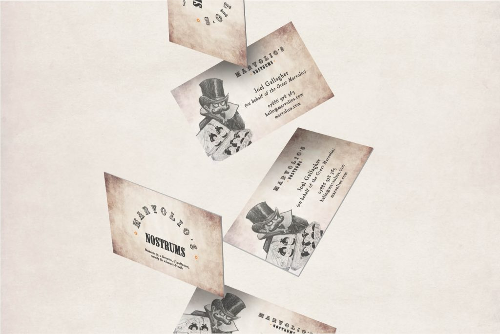 Marvolio's Nostrums business cards   Marvolio's Nostrums   Independent Marketing Packaging, Design and Website Design Services   IM London