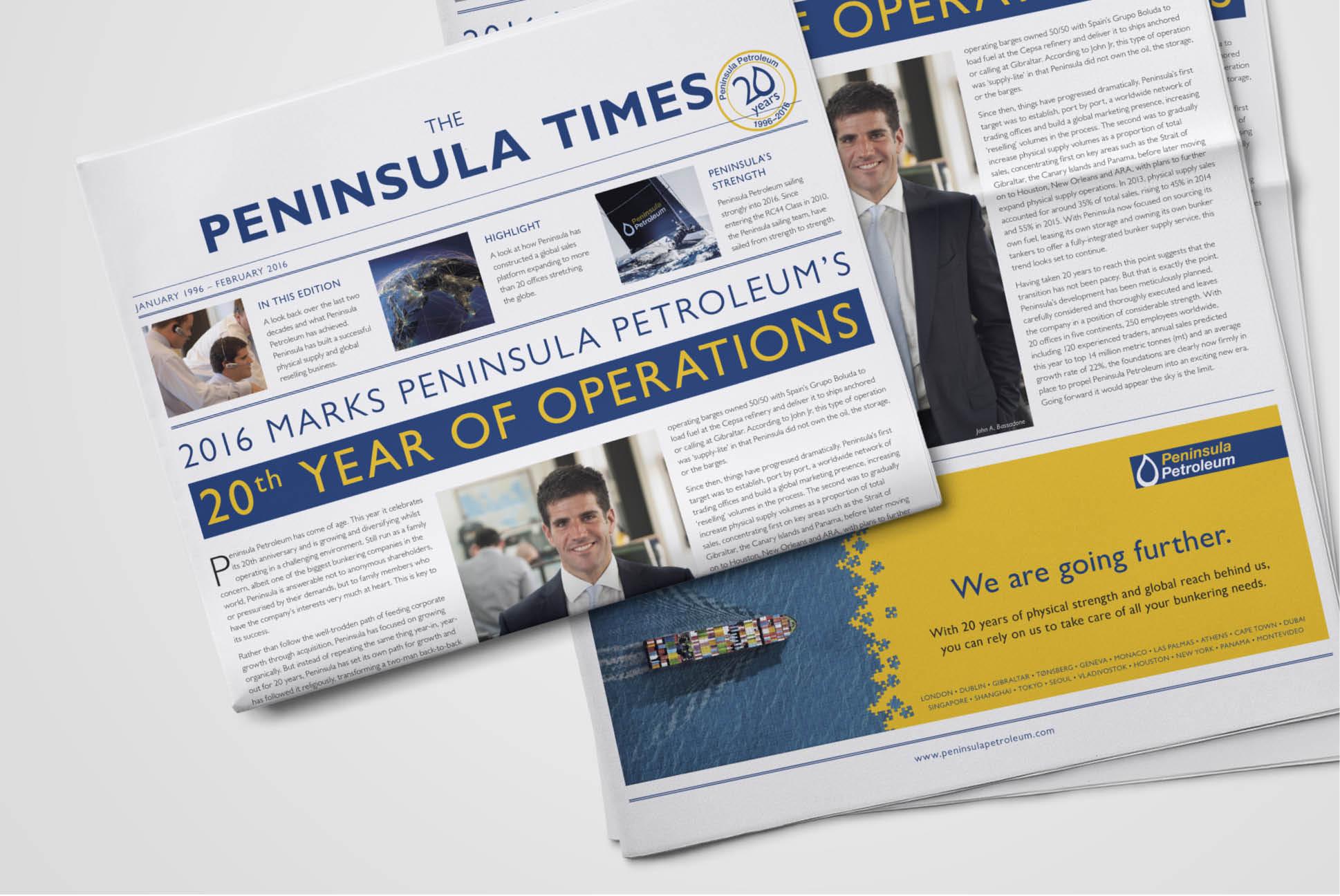 Peninsula Petroleum Newspaper | Branding and Marketing Services - Independent Marketing | IM London