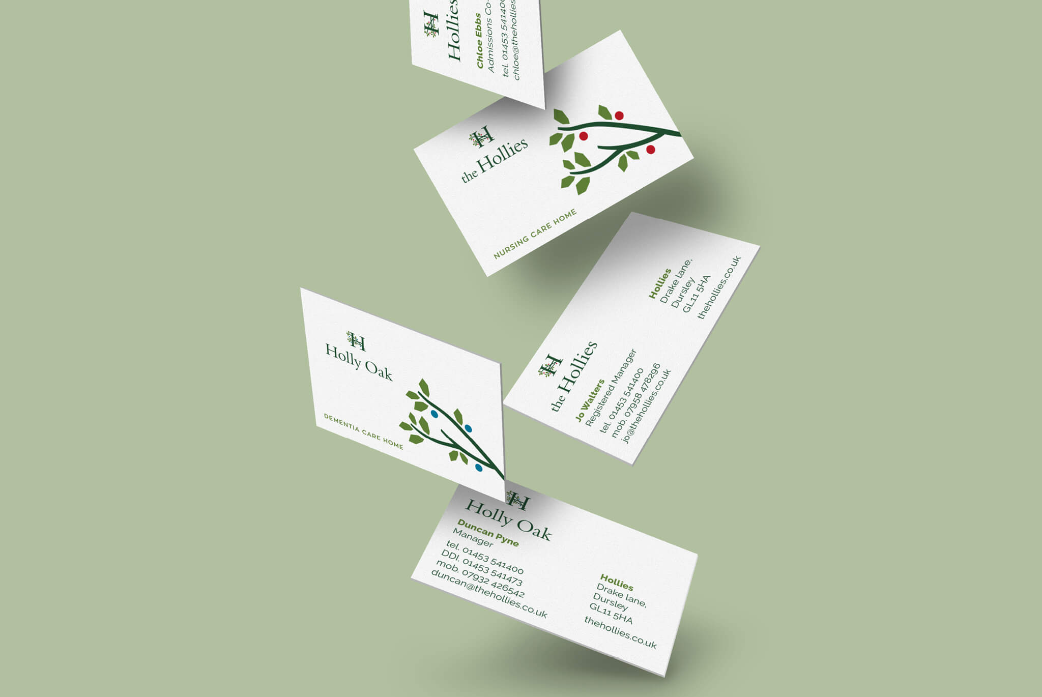 Hollies Business Cards