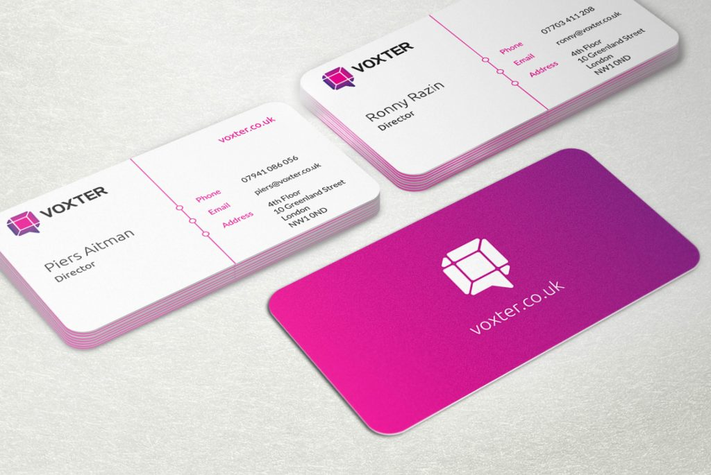 Voxter Business Cards | Branding, Strategy, Print and Website Design from Independent Marketing | IM London