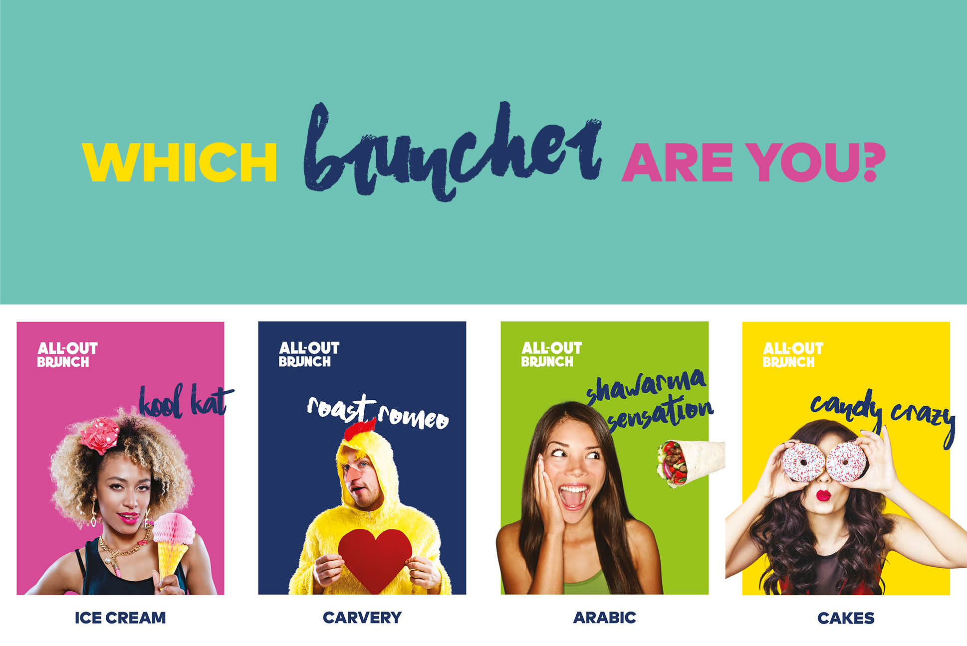 All-out Brunch Rotana Characters | All-out Brunch Poster | Amwaj Rotana | Independent Marketing Campaign & Advertising Services | IM London