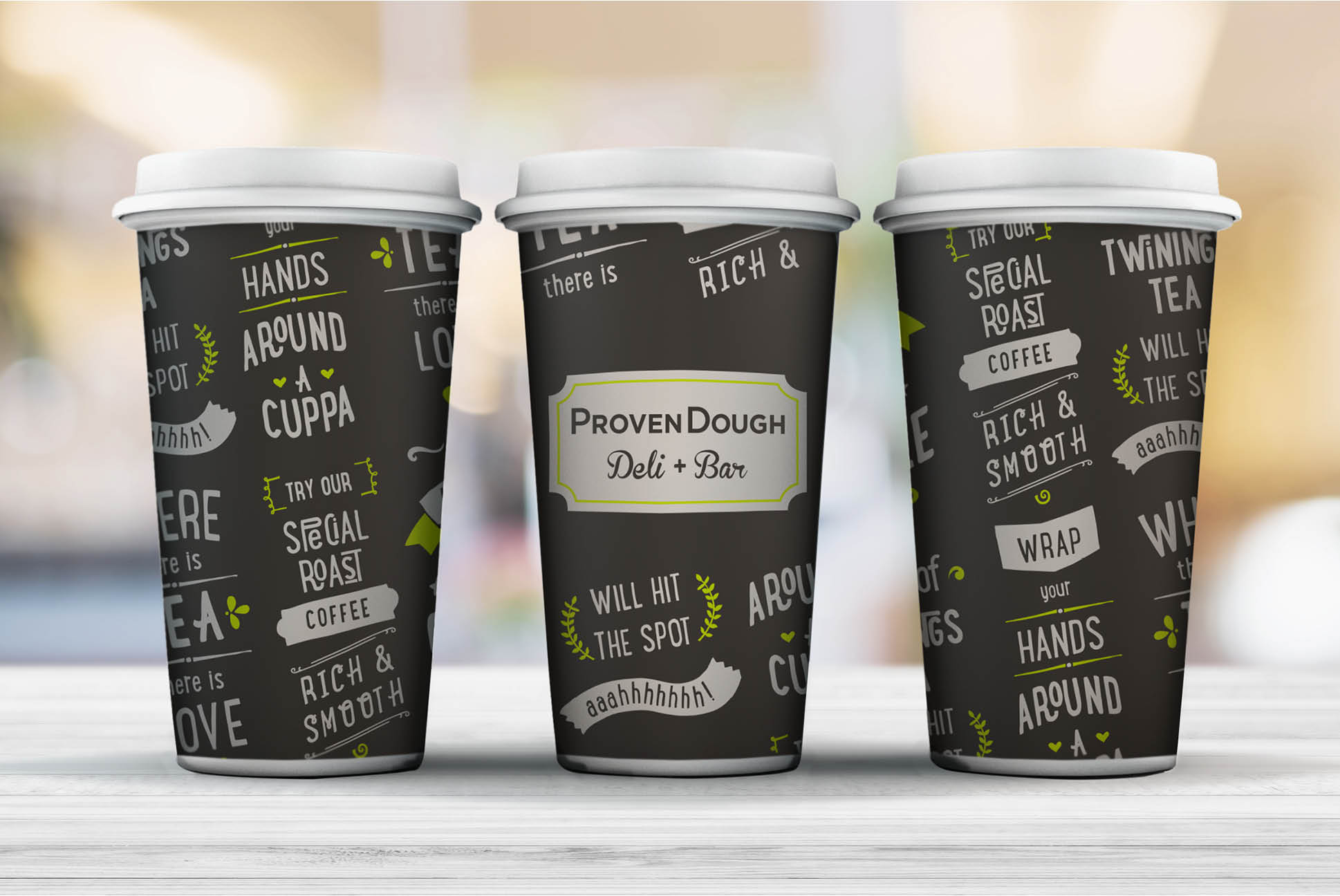 ProvenDough cups   Branding and Identity Design - Independent Marketing   IM London